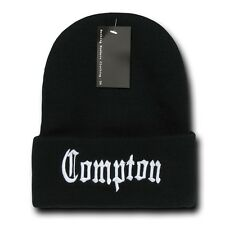 Black & White Compton Vintage Embroidered Hip Hop Cuffed Beanie Beanies Hat Hats
