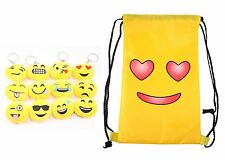 Emoji Smiling Face With Heart Eyes Waterproof Back Bag with 12 Emoji Keychains
