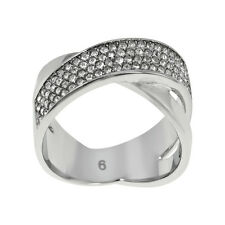 Michael Kors Silver-Tone Stainless Steel Criss-Cross Ring MKJ2868040 - Size 9
