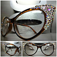 VINTAGE CAT EYE Style Clear Lens EYE GLASSES Tortoise Frame Iridescent Crystals