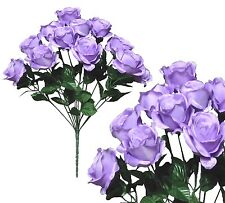 "12 Lavender Rose 20"" Bouquet Wedding Bridal Party Home Decor Artificial Flower"