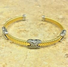"VICENZASILVER STERLING CRYSTAL ""X"" DESIGN YELLOW TUBOGAS LARGE CUFF BRACELET QVC"