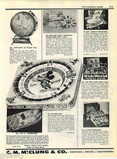 1957 ADVERT Slugger Baseball Game Toy Mickey Mouse Haunted House Jet Age Globe