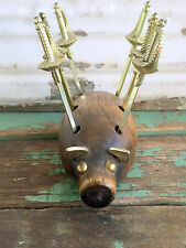 Vintage Mid Century Wood Pig Tooth pick holder with sword toothpicks