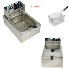 2500W Electric Countertop Deep Fryer Commercial Basket French Fry Restaurant 6L