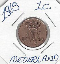 1863 Netherlands Nederland Holland 1 Cent