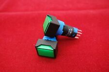 2PCS Cutout 12MM 6V Green LED ILLUMINATED Rectangular Momentary PUSH BUTTON