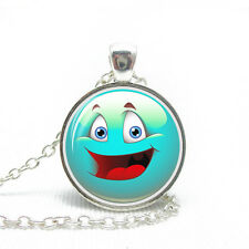 Fashion Light Blue Emotion Happy Face Smile Emoji Pendant Necklace N460