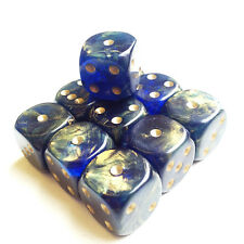 Gold Mist Blue D6 x 10 - 15mm 6 sided spot dice