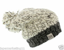 KUSAN 100% WOOL HANDMADE FLOPPY BEANIE HAT WITH POM
