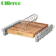 Ollieroo 10 Pack Solid Natural Wood Wooden Skirt Pants Hangers & Chrome CLIP