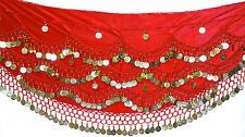 Velvet Belly Dance Hip Scarf Coin & Bead Belt Wrap UK SIZE 12-18 M L XL 1XL