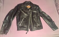 Women's XS Harley Davidson Genuine Leather Jacket - Zipper Pockets - Motorcycle