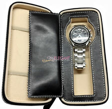 Black Real Genuine Leather Single Watch Travel Case Collector Storage Zipper Box
