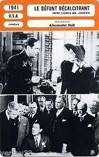 Fiche Cinéma. Movie Card. Le défunt récalcitrant / Here comes Mr Jordan USA 1941