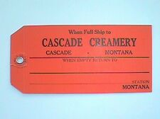 Colorful old CREAMERY tag from CASCADE MONTANA cowboy artist CHARLIE RUSSELL