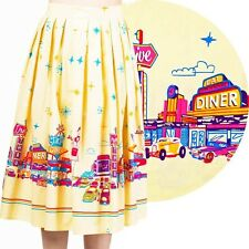 BNWT Banned Apparel 1950's Style Diner Print Full Skirt Size XS