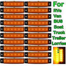 20x Amber Truck Boat Trailer RVs Side Marker Indicators Light Lamp 12V 6 LED
