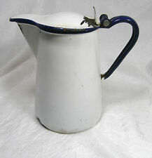 Vintage White Graniteware Enamelware Coffee Server Hinged Lid Blue Trim Rustic