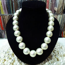 "RARE Huge 16mm White South Sea Shell Pearl Necklace 18"" AAA+"
