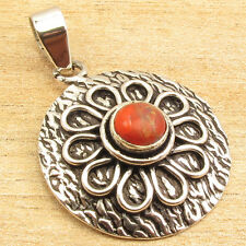 "0.99 cent Auction !! ORANGE COPPER TURQUOISE Pendant 1 3/8 "" 925 Silver Plated"