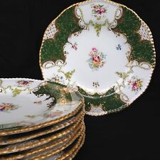 "One Coalport Batwing Panel Green 9"" Dinner Salad Plate.8 Available."