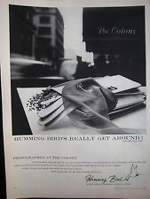 1956 Vintage Humming Bird Hosiery Gloves The Colony Hotel Photo Ad