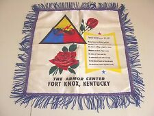 Vintage WWII THE ARMOR CENTER FORT KNOX KENTUCKY Pillow Cover MOTHER & DAD Sham