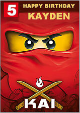 Red Lego Ninja Ninjago Birthday Card A5 Personalised own words
