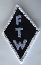 FTW Diamond shaped white border embroidered cloth patch.  A030102