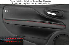 RED STITCH 2X DOOR CARD TRIM SKIN COVERS FITS FIAT PUNTO GRANDE EVO 10-14 3DR