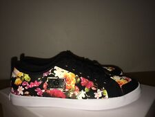 G by GUESS  Black Floral Multi  Lace - Up Gold  Hardware Tennis  Sneakers 7,5