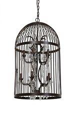 Kronleuchter Pillenore Vogelkäfig Rost Braun 10 flammig Lampe Käfig Deckenlampe