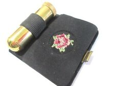BLACK COMPACT LIPSTICK HOLDER MIRROR TRAVEL USED EMBROIDERED DESIGN W. GERMANY