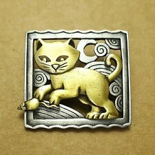 Artifacts Cat Mouse Gold Silver Pewter Artistic Craft Brooch Jewelry Fashion Pin