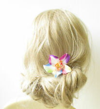 Rainbow Orchid Flower Hair Clip Rockabilly 1950s Vtg Hawaiian Floral Pride 1263