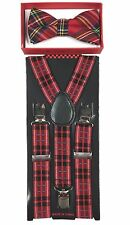 Red Black Stripe  toddler bow tie and suspenders set - baby boy/girl Accesorries