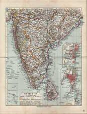 Landkarte map 1912: OST-INDIEN SÜDLICHER TEIL. Maßstab: 1 : 7.500 000