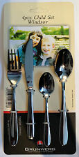 Grunwerg Windsor Stainless Steel 4 Piece Children Child Cutlery Set - FREE P&P