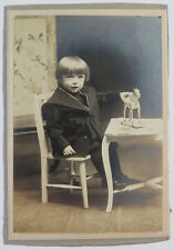 Cabinet Card Photo, Child Sitting at Table w/ Horse Pull Toy, Sol. Young Studios