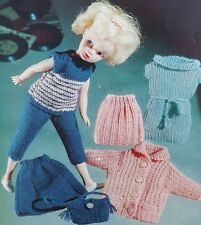 Barbie/sindy poupées pantalon top robe sac jupe vintage knitting pattern S2301