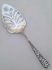 DAISY SILVER PIE SERVER GERBERA DAISIES ENGRAVED FLUTED BLADE REPOUSSE DAISIES