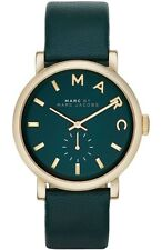 New Marc By Marc Jacobs MBM1268 Baker Gold Tone Teal Green Leather Watch + Box
