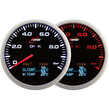 RACETECH 60mm Smoked Oil Pressure Voltage Oil Temp&Water Temp Gauge LED 4 in 1