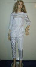 LADIES WHITE SHIMMER 1980S 80S STYLE TROUSERS JACKET SUIT 10 FANCY DRESS