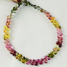Rubellite Green Yellow Tourmaline Pear Briolette Beads 9.75 inch strand