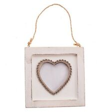 Shabby Chic Rustic White Square Heart Wooden Hanging Photo Frame 11x11cm