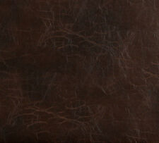 Sable Brown Distressed Leather Hide Look Soft Vinyl Upholstery Fabric