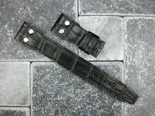 22mm Black Gator Grain Leather Strap watch Band with Rivet BIG PILOT 22