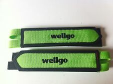 BICYCLE GREEN TOE CLIP DOUBLE STRAPS WELLGO BMX MTB ROAD FIXIE TRACK CYCLING NEW